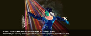 web banner promoting Carmina Escobar's event MUCHACHES BARRIGONES, March 18