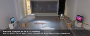 A we banner promoting an online talk with the Fire Theory on August 4, 2021 at 6 pm