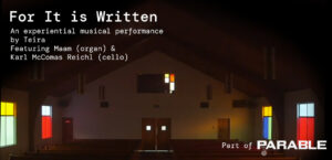 """web banner promoting """"for it is written"""" a performance that will be held at LACE October 28, 2021, from 7-9pm"""